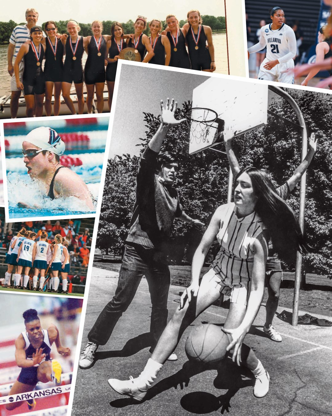 A collage of photos from years past of female Villanova athletes in basketball, rowing, swimming, field hockey and track