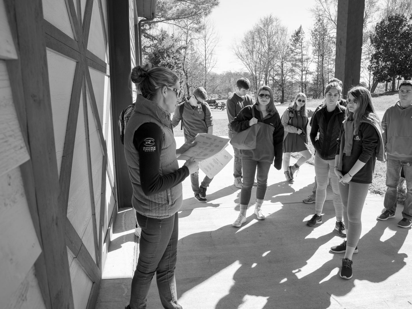 Black-and-white photo of students from Villanova's student group LEVEL.