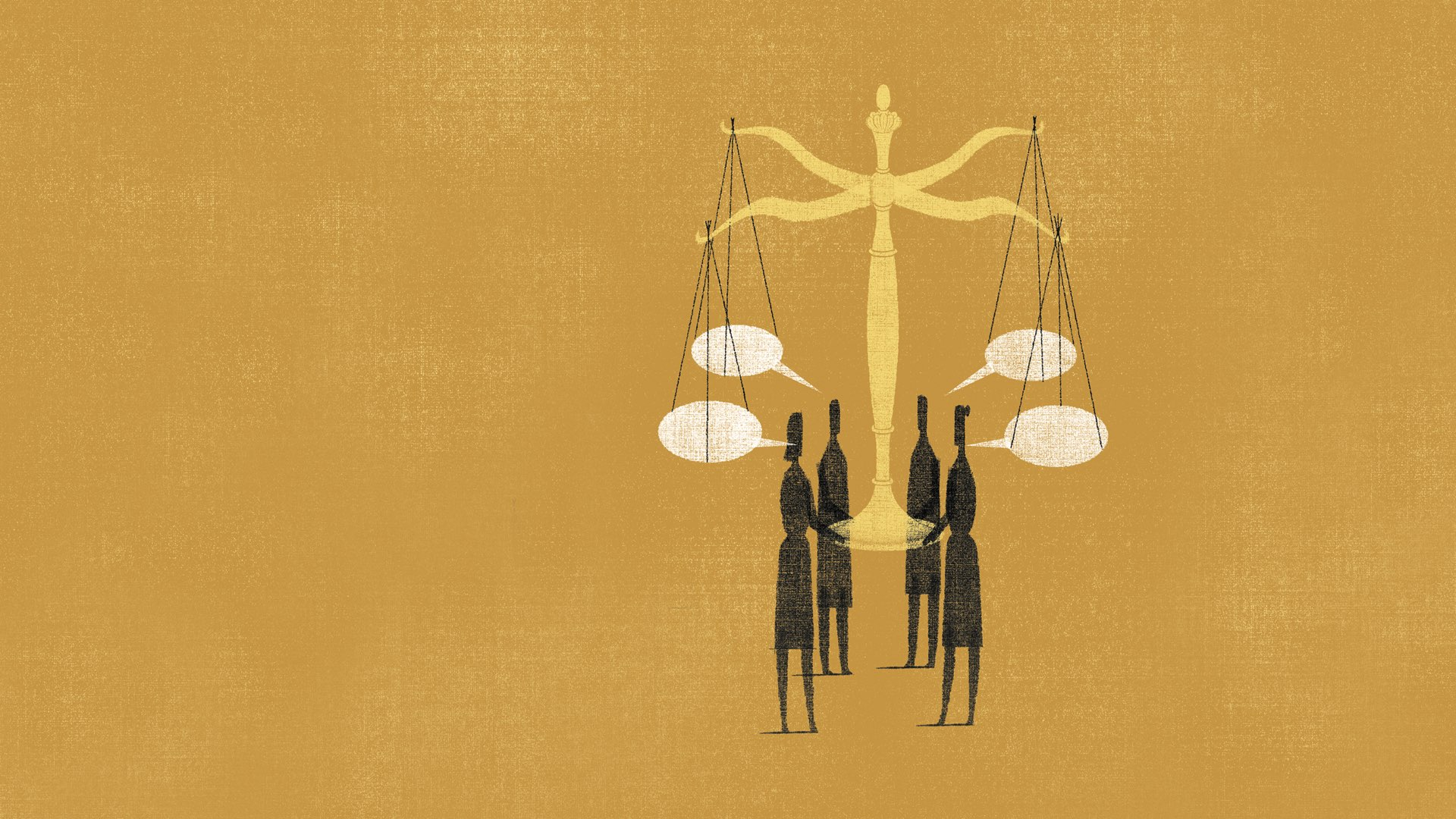 Graphic artwork on a mustard-colored background showing four dark silhouettes holding and balancing the scales of justice