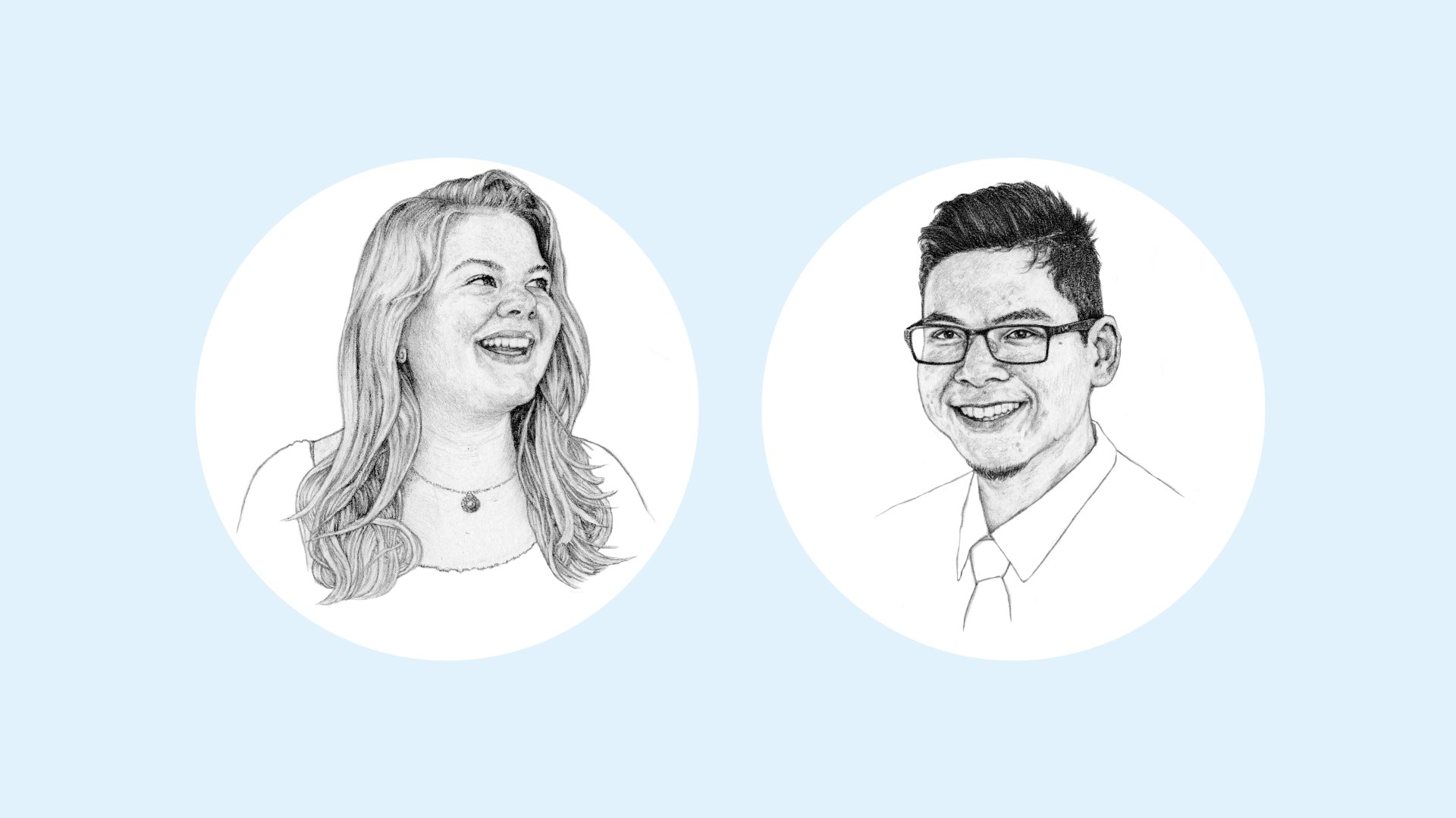 Black and white pencil illustrations of Kathy Kalata, a female Villanova student, and Boratha Tan, a male Villanova alumnus