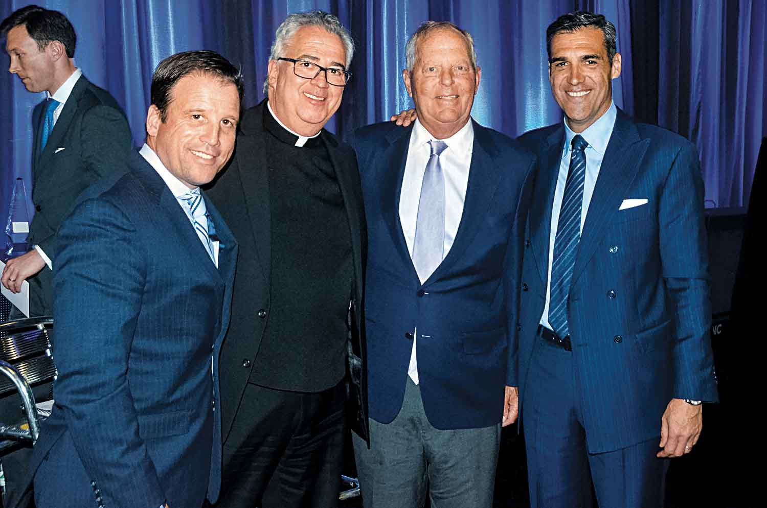 Mark Jackson (Director of Athletics); the Rev. Peter M. Donohue, OSA, PhD (Villanova University President); William B. Finneran '63; Jay Wright (Head Basketball Coach)