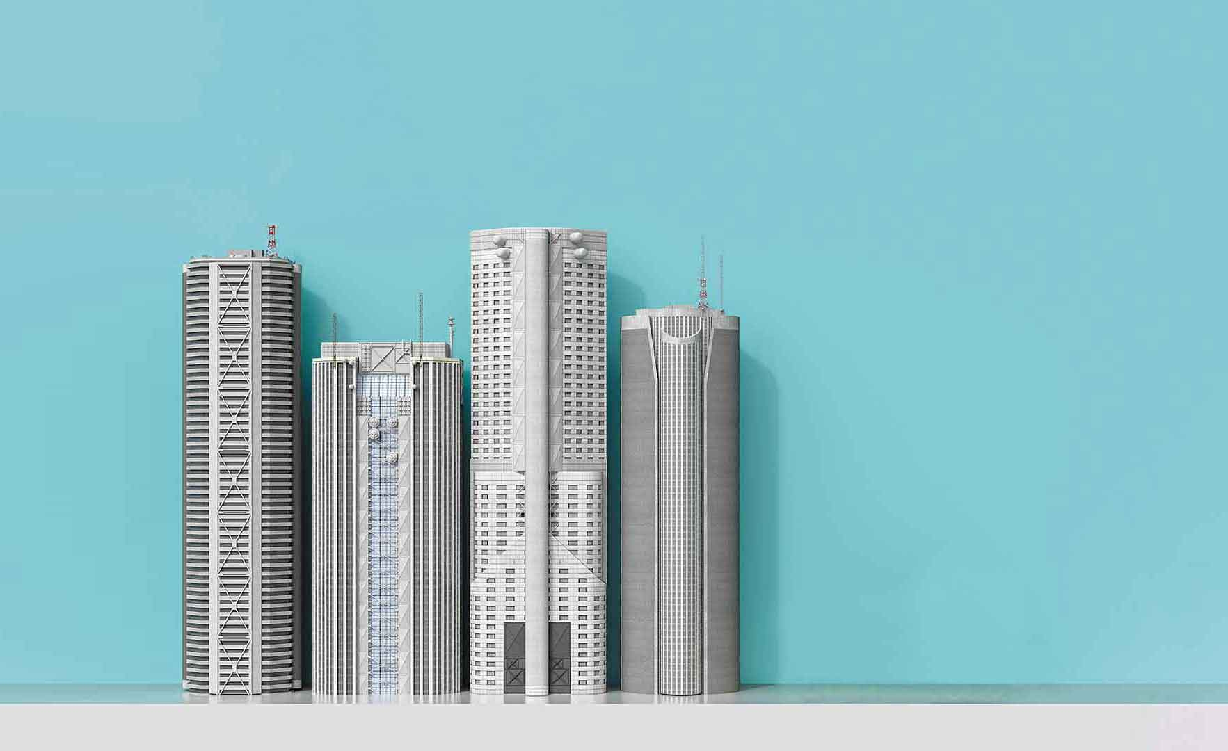 Digital illustration of tall buildings