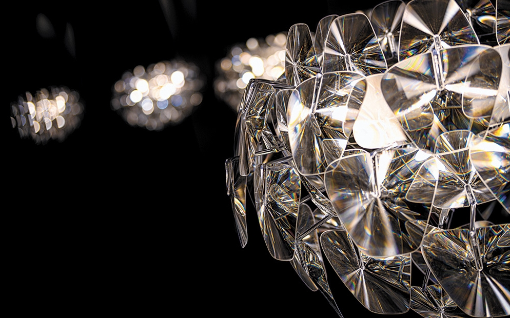 Up-close detailed view of sparkling light fixture
