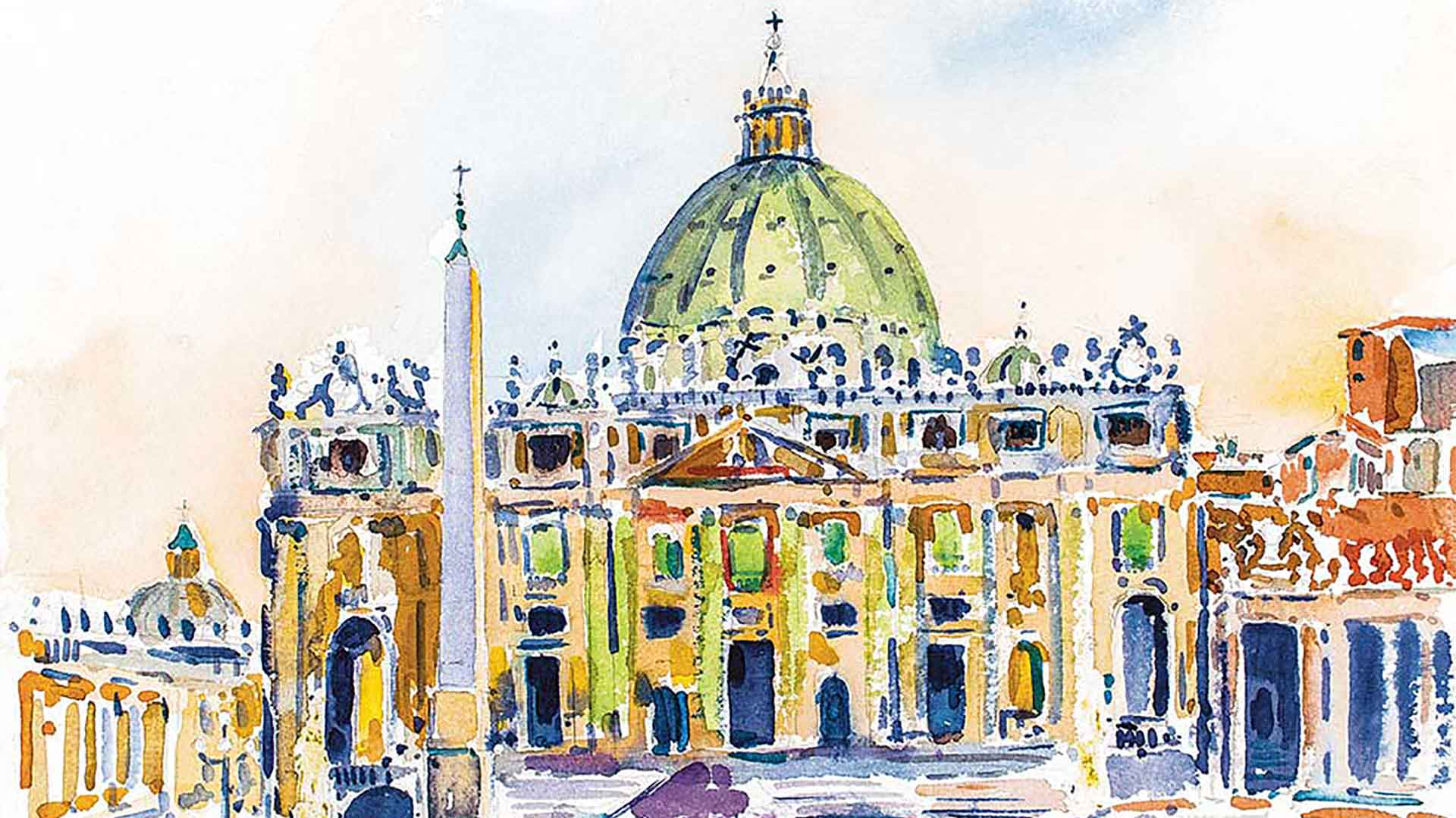Watercolor of St. Peter's Cathedral in Rome painted by Father Richard Cannuli