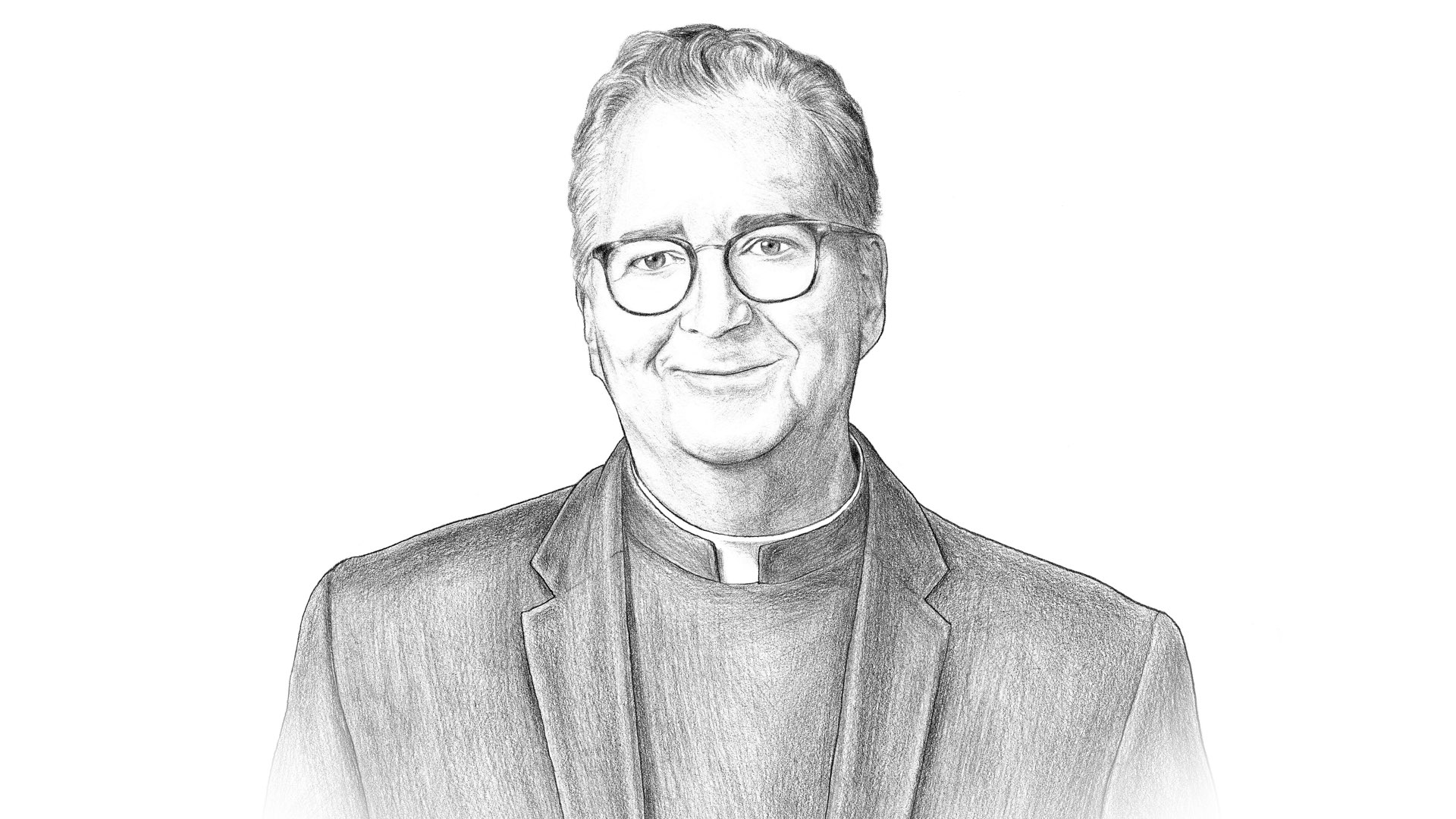 A black and white pencil illustration of Villanova University President the Rev. Peter M. Donohue.
