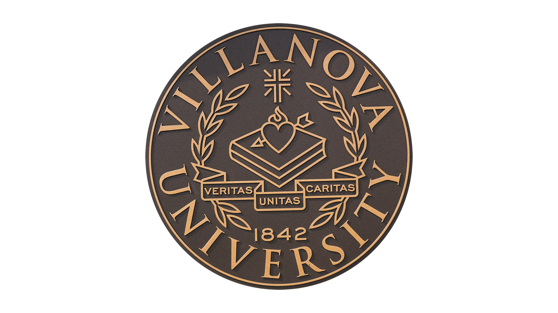 Official Villanova seal which bears the words veritas, unitas, caritas