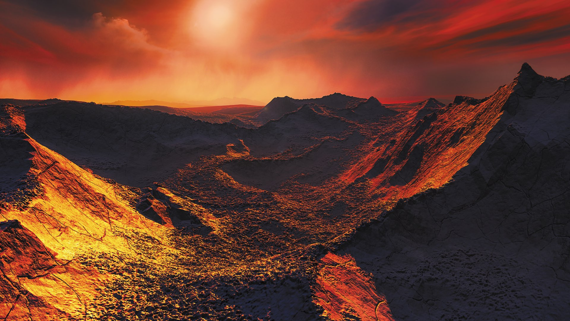 Artist's impression of Barnard b, a rocky, mountainous landscape of with dusty red ridges under a pink cloudy sky