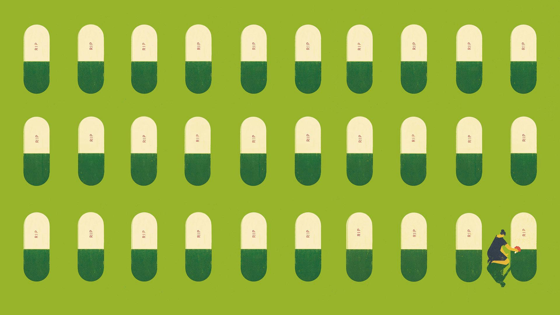 Photo illustration of a row of capsules resembling tombstones with RIP written on them and a woman placing flowers on one