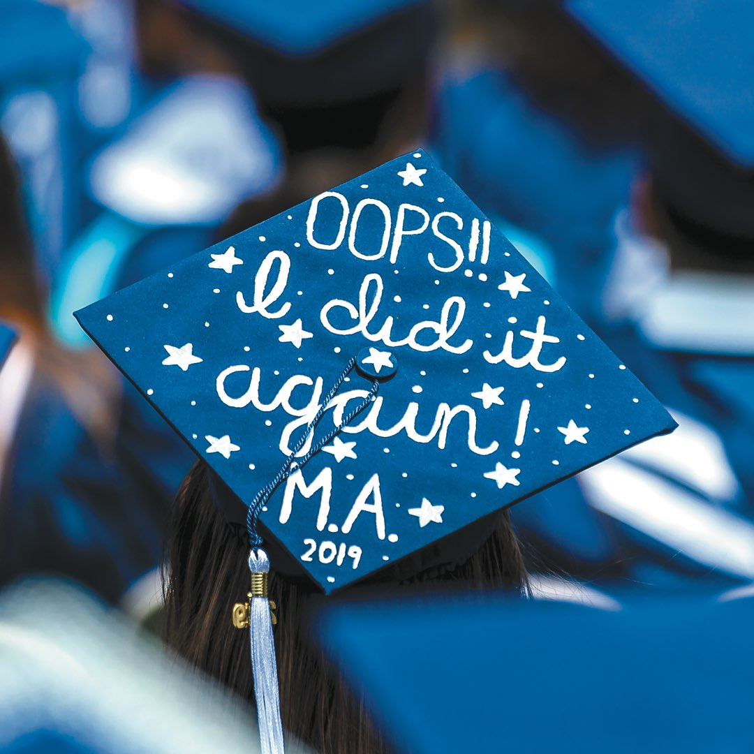 "Cap reads ""Oops!! I did it again! M.A. 2019"" in white paint with stars"