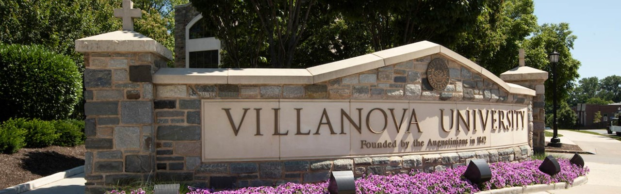 Sign at Ithan Avenue that reads Villanova University founded by the Augustinians in 1842