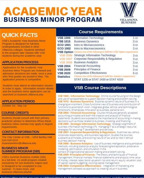 fact sheet for academic year business minor
