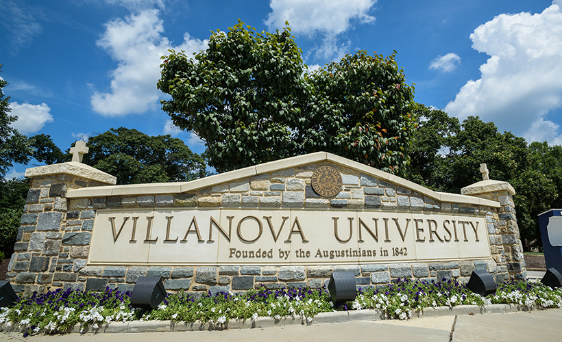 Villanova University stone sign at entrance