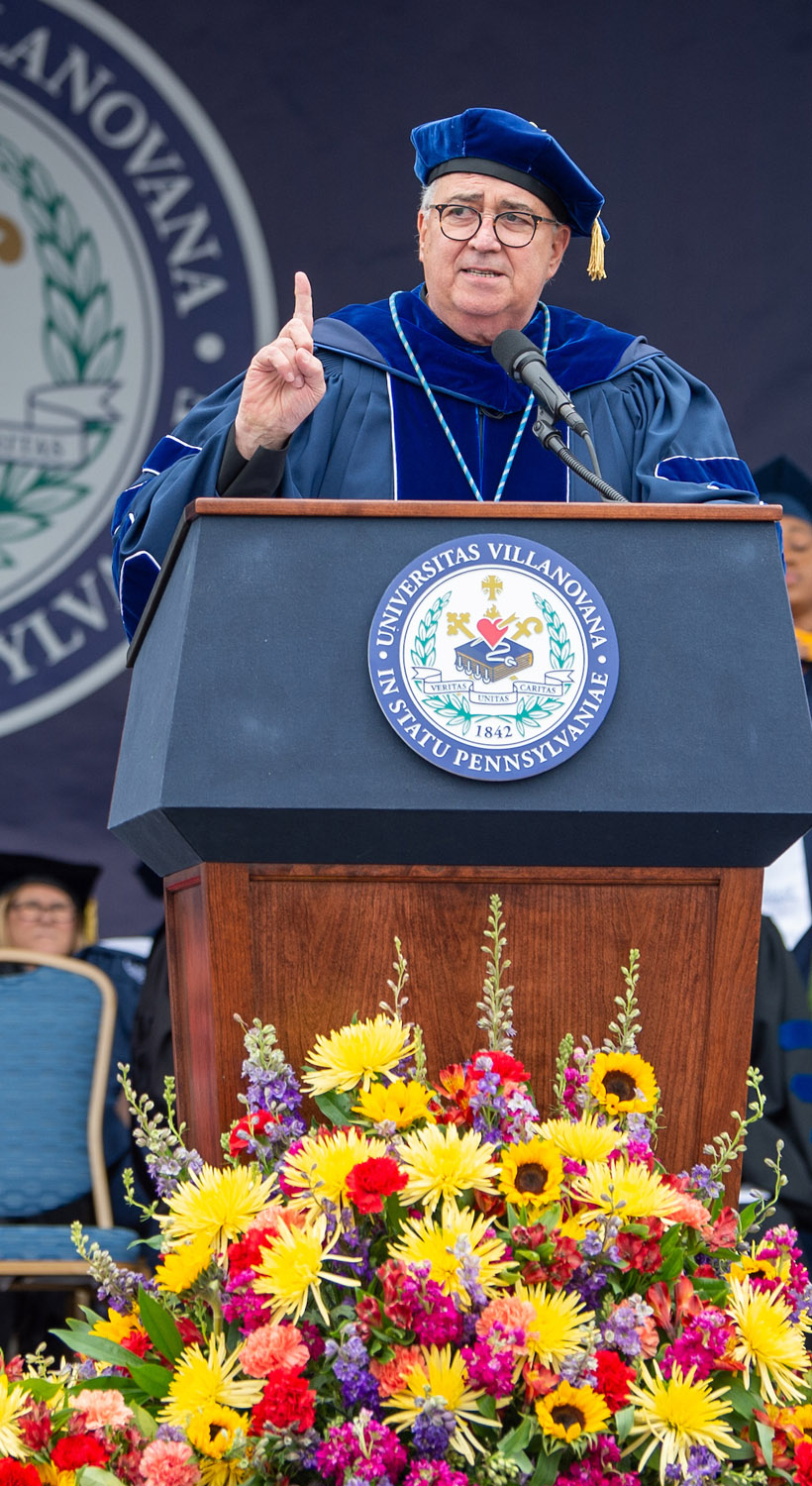 Father Peter Donahue speaking at Commencement