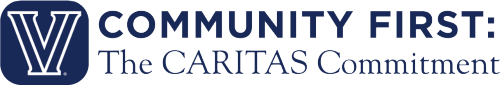 "Villanova logo with text that reads ""Community First: The CARITAS Commitment"""