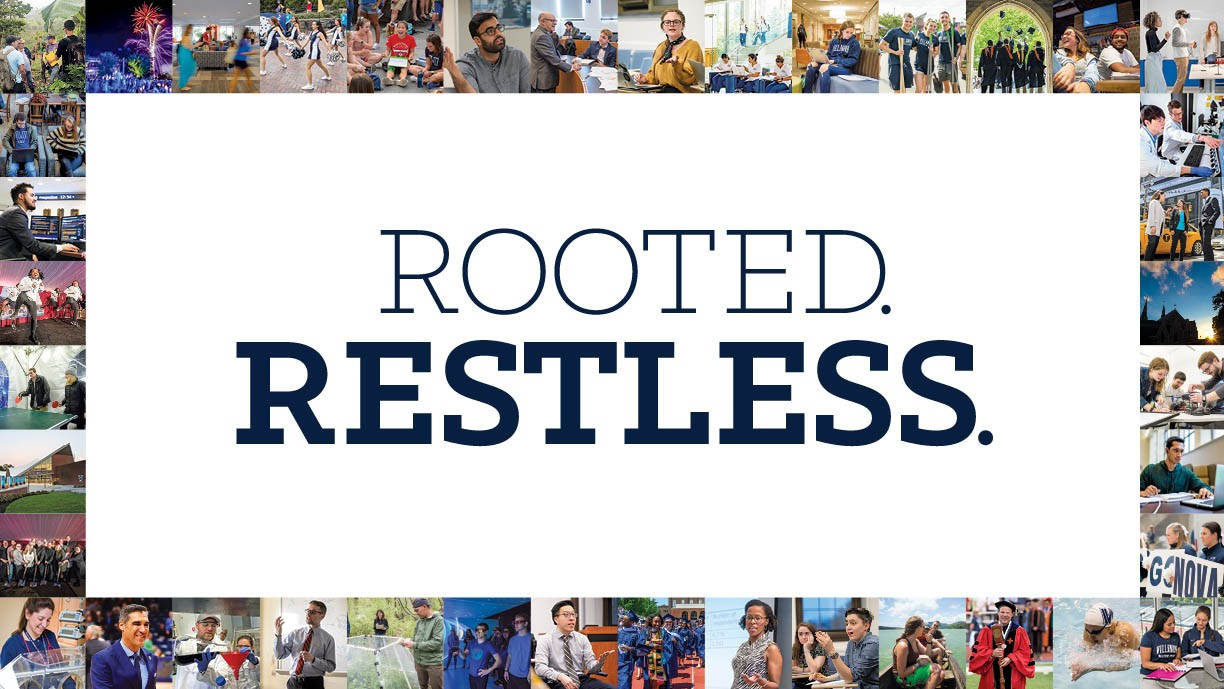 "The words ""Rooted. Restless."" surrounded by a colorful mosaic of photographs representing the campus community."