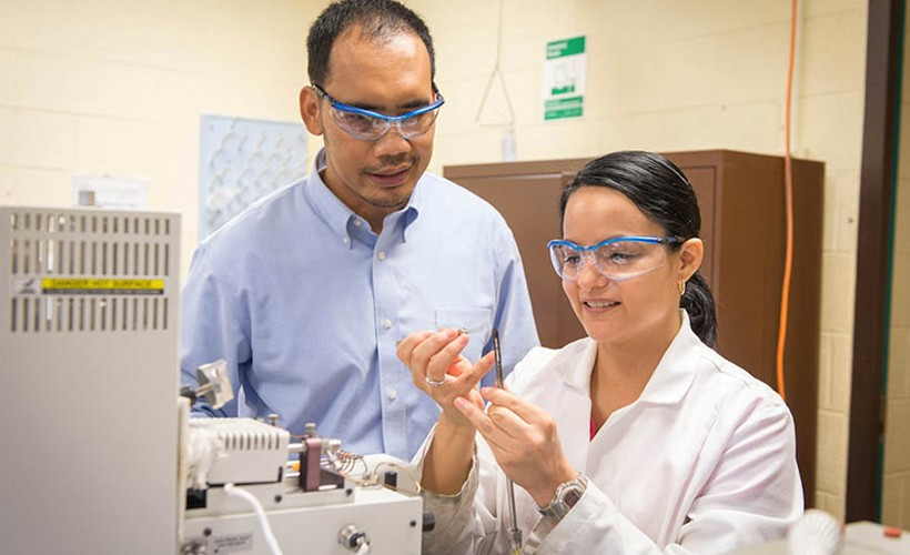 Associate Professor Justinus Satrio works with a student in a lab.