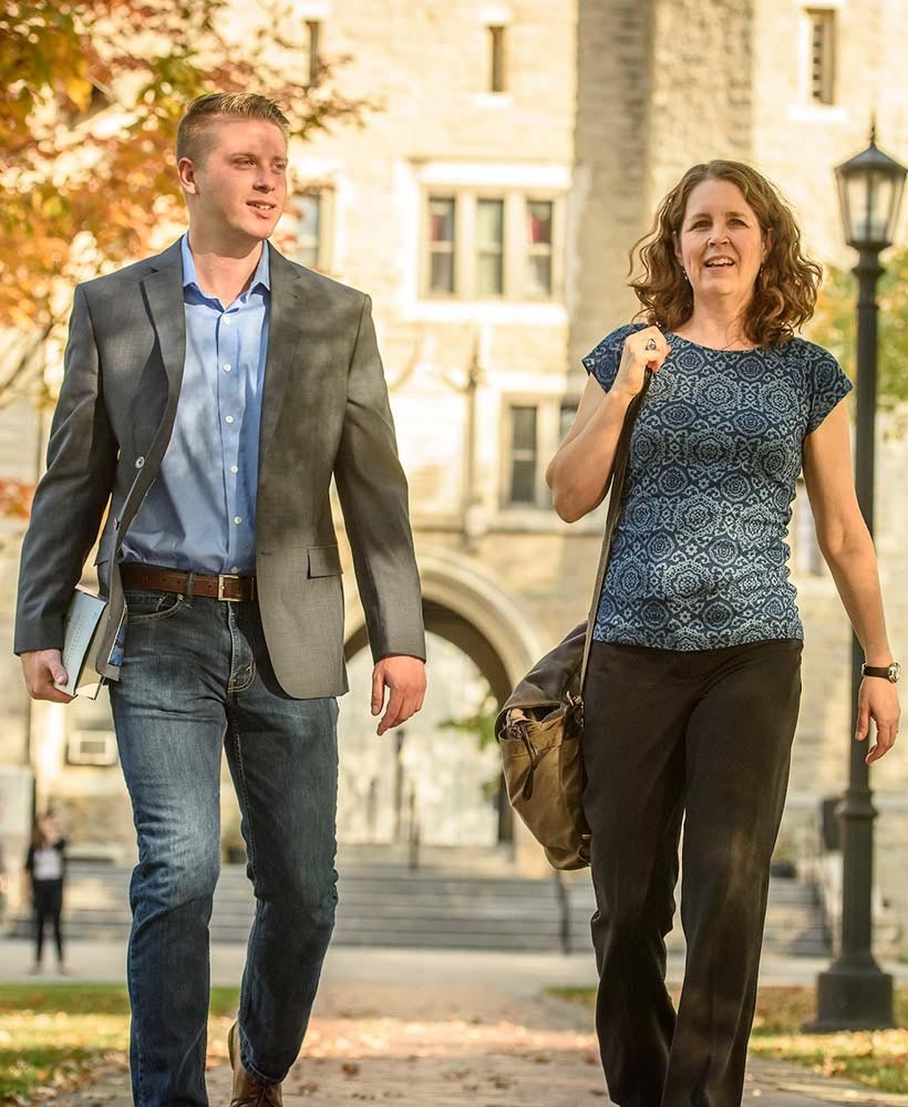 Graduate students walking Villanova's campus