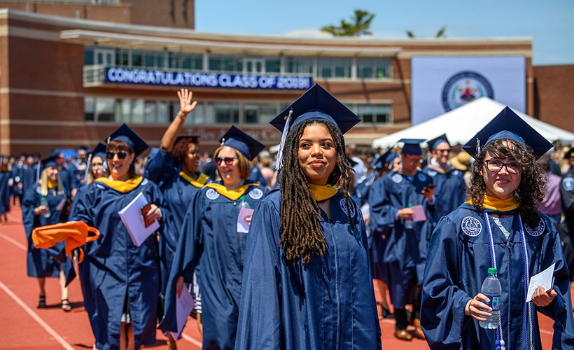 Graduate Liberal Arts and Sciences students process at Villanova's Commencement.