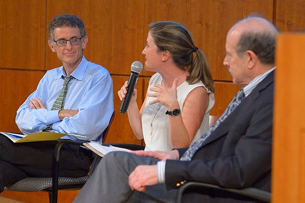 Pictured is a panel discussion at one of the Lepage Center's events.