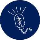 Icon representing a lit light bulb.