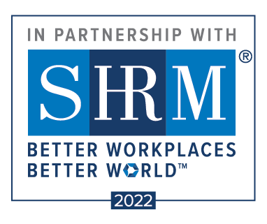 "SHRM Partnership logo 2021 with the words ""In Partnership with SHRM: Better Workplaces, Better World."""
