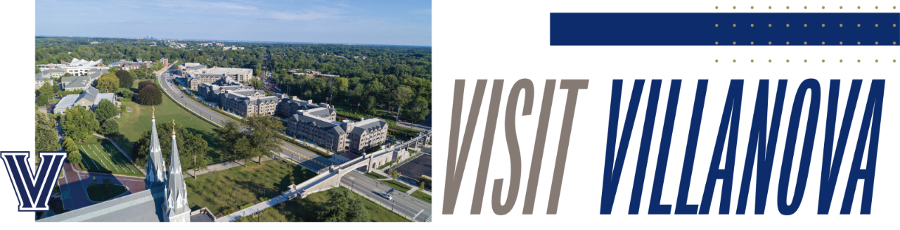 Visit Villanova with image of church spires and residence halls
