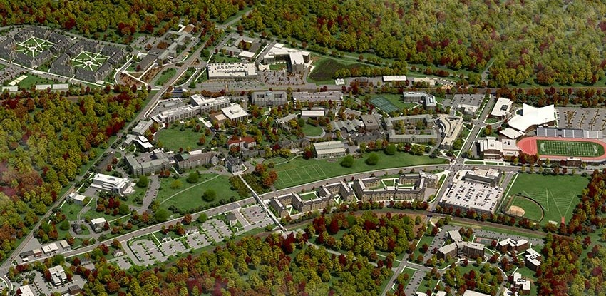 Aerial view virtual rendering of Villanova's campus