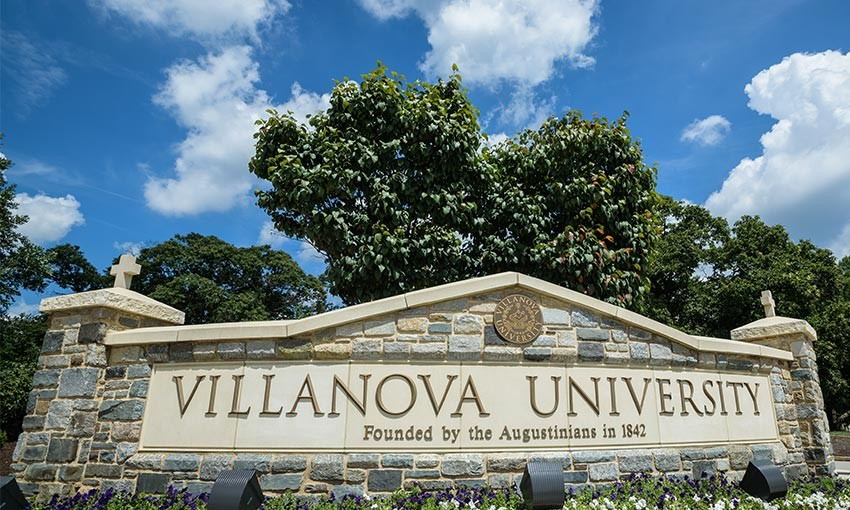"The sign at Ithan Avenue that reads ""Villanova University: Founded by the Augustinians in 1842"""