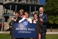Picotte hall sign with family