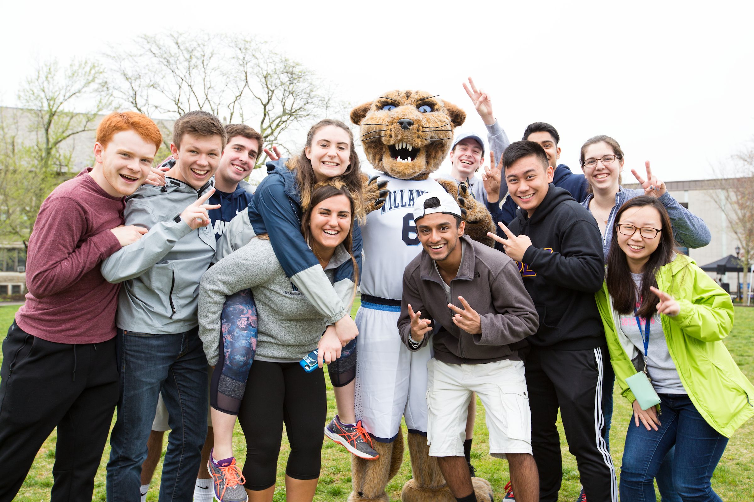 Villanova students with the Wildcat