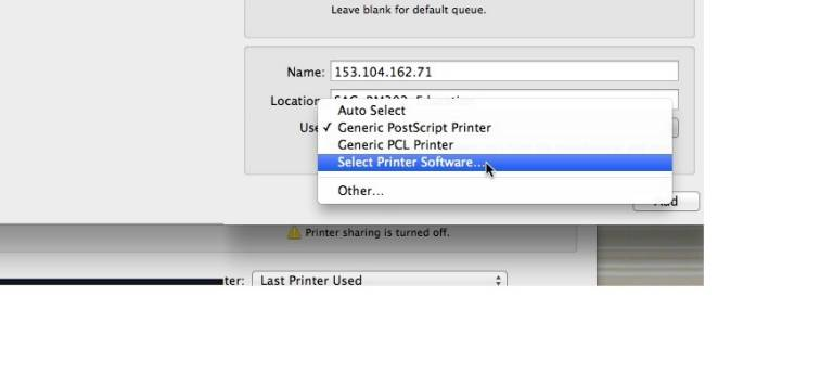 Click the menu beside 'Use:' and select 'Select Printer Software.'
