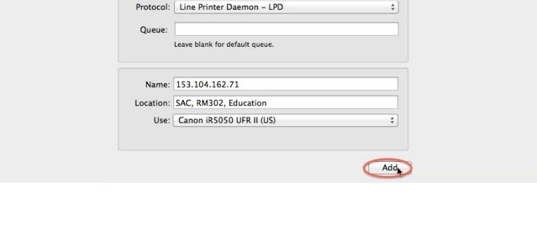Back at the 'Add Printer' screen, click 'Add' and accept the printer's default settings.