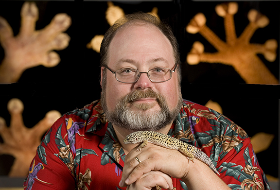 Photo of professor Aaron Bauer with a lizard resting on his hands