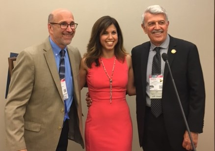Villanova University Associate Professor Rayna D. Markin, PhD (center) receives the APF 2017 Early Career Award from Jeffrey Zimmerman, PhD, ABPP, Outgoing President of the Division 29 of the APA (left) and Armand R. Cerbone, PhD Past President of the Division 29 of the APA (right)