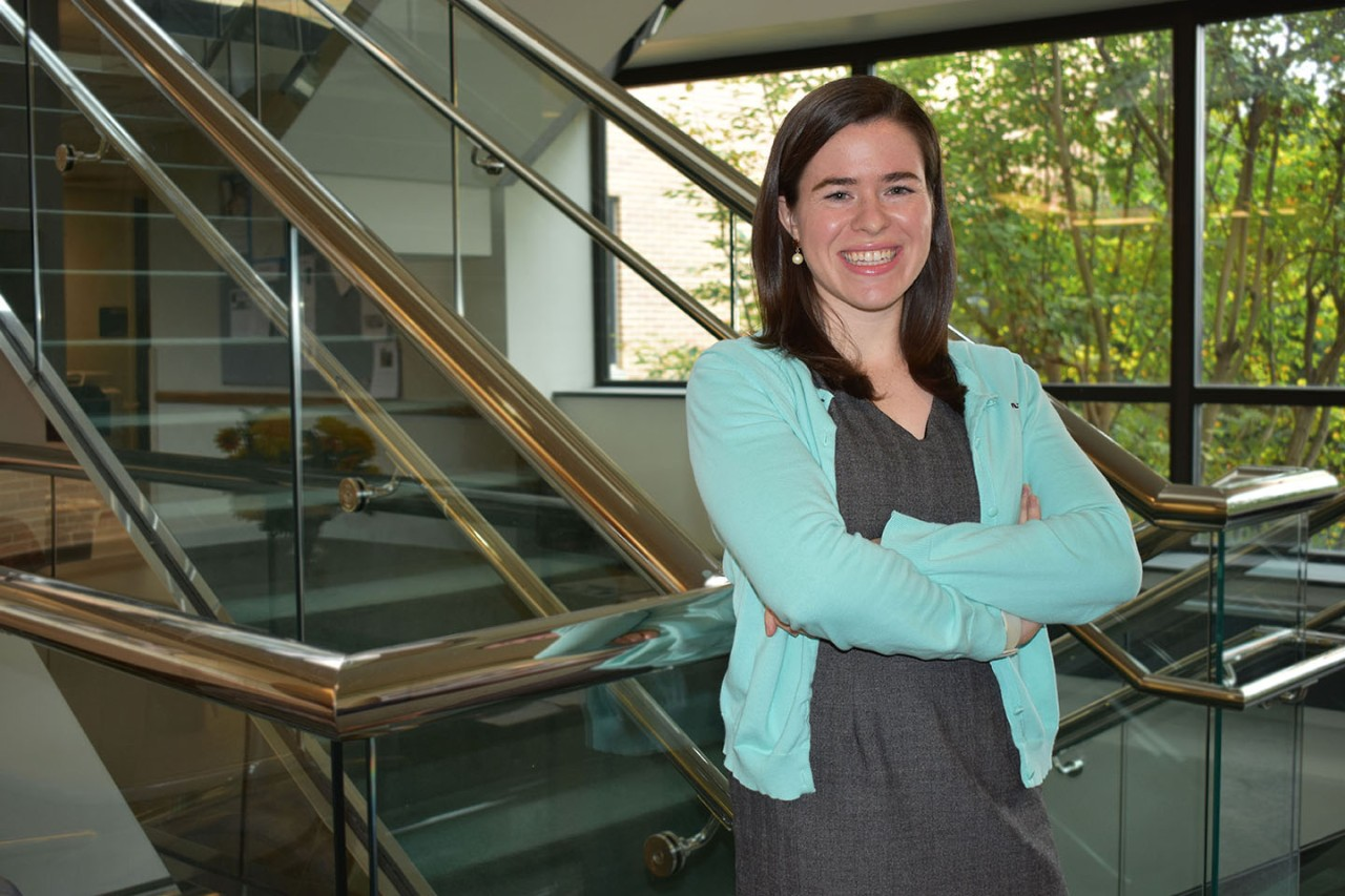 Meghan Buckley '15 MS standing in the Lankenau Institute for Medical Research