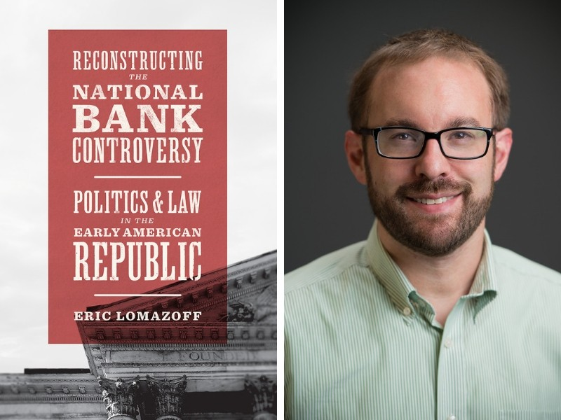 Political Science professor Eric Lomazoff is pictured on the right, and the cover of his new book is pictured on the left.