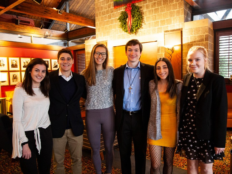 Pictured from left are Paige Hanley '21 CLAS, Gabriel Calvo '21 CLAS, Cecilia Spesia '21 CLAS, Jack Riedl '21 CLAS, Courtney McPheter '21 COE, Kate Newman '21 CLAS.