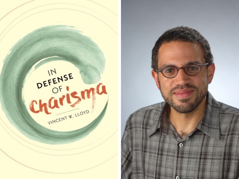 "Pictured right is professor Vincent Lloyd and pictured right is his new book cover, ""In Defense of Charisma."""