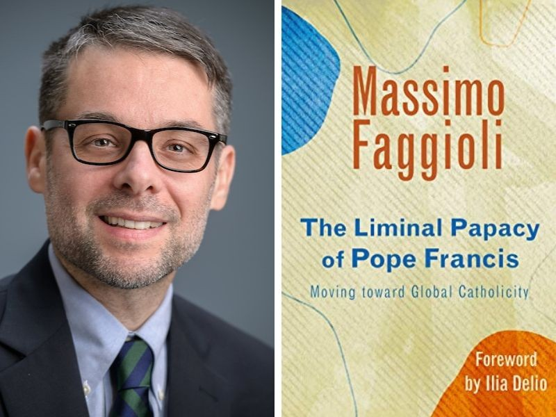 Pictured left is Massimo Faggioli, and pictured right is the cover of his new book.