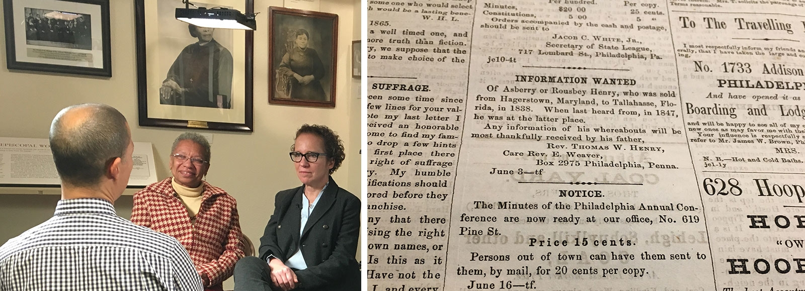 Judy Giesberg, PhD, and a researcher from Mother Bethel African Methodist Episcopal Church in Philadelphia are pictured left, and on the right is one of the Information Wanted Ads.