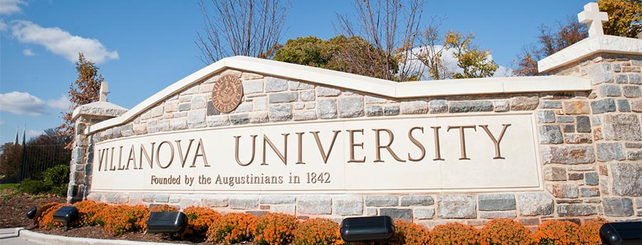 image of Villanova stone entrance sign