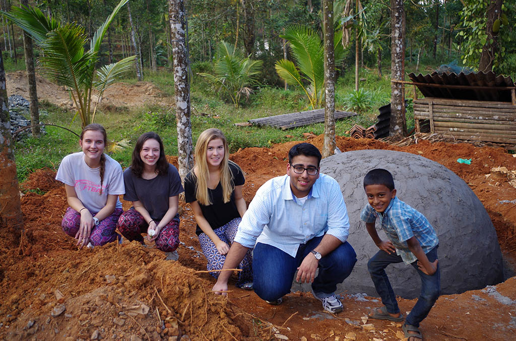 Villanova students worked on construction of a biogas digester to provide the community with a source of energy.