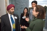 State Senator Connie Williams speaks with Dr. Pritpal Singh