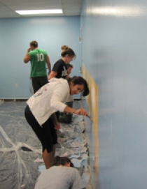 Members of Engineers without Borders spent the day at the Caring People's Alliance in North Philadelphia.