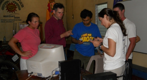 ECE team installing prototype in Waslala