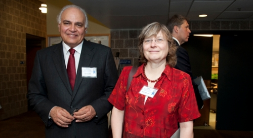 Dr. Moeness Amin, Director of the CAC, and Dr. Ingrid Daubechies, recipient of the 2011 Benjamin Franklin Medal in Electrical Engineering.