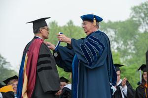 Dr. C. Nataraj receives the Outstanding Faculty Research Award from Villanova President, The Rev. Peter M. Donohue, OSA, PhD