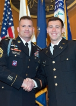 Second Lieutenant Andrew James Smith '13 ME receives his commissioning from the U.S. Army