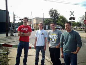 Civil Engineering seniors at the Darby Borough Main Street crossing: Rob Asensio, Douglas Allen, Matt Greico and Joe Emory.