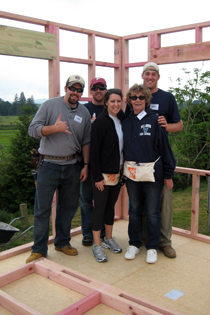 On a Global Village build in New Zealand: Craig Hopkins '03, Doug Tranter '03, Dana D'Orazio '05, Mary Henderson and Taylor Henderson '05